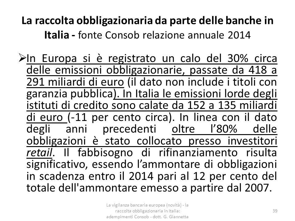 La raccolta obbligazionaria da parte delle banche in Italia - fonte Consob relazione annuale 2014 L'irrigidimento delle norme regolamentari di vigilanza prudenziale, inoltre, accrescerà i fabbisogni di capitale, che i principali azionisti di controllo (in primis, le fondazioni bancarie) hanno difficoltà a sostenere.