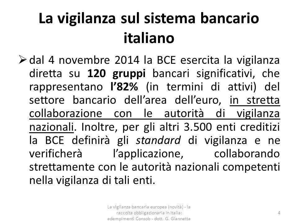 La vigilanza sul sistema bancario italiano  La Banca d'Italia persegue la sana e prudente gestione degli intermediari, la stabilità complessiva e l'efficienza del sistema finanziario;  La Consob svolge attività di vigilanza per quanto riguarda la trasparenza e la correttezza dei comportamenti.