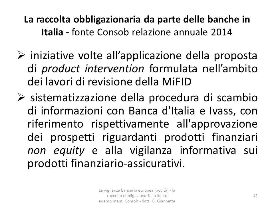 La raccolta obbligazionaria da parte delle banche in Italia – 2011-2014 (fonte Consob – Risk Outlook n.