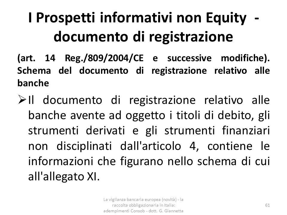 I Prospetti informativi non Equity INDICE DEL DOCUMENTO DI REGISTRAZIONE [esempio] 1.