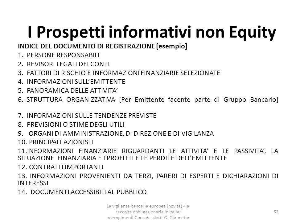 I Prospetti informativi non Equity  Il prospetto d'offerta è valido per dodici mesi a decorrere dalla sua approvazione, purché venga completato con i supplementi eventualmente prescritti ai sensi dell'articolo 94, comma 7, del TUF.