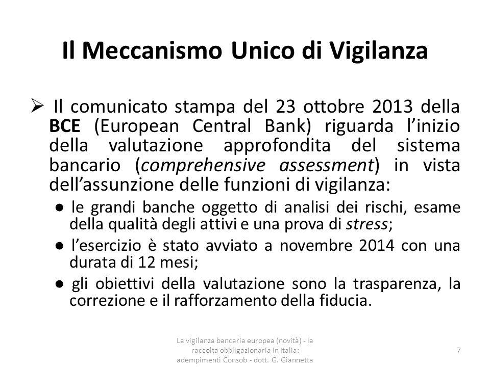 Il Meccanismo Unico di Vigilanza  La valutazione approfondita ha coinvolto 130 istituti di credito europei in 18 Stati membri, che rappresentano circa l'85% degli attivi bancari dell'area Euro.