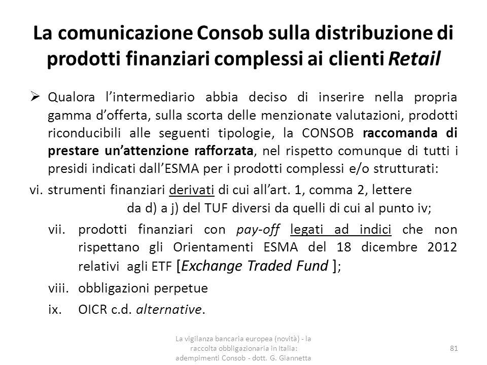 La comunicazione Consob sulla distribuzione di prodotti finanziari complessi ai clienti Retail x.