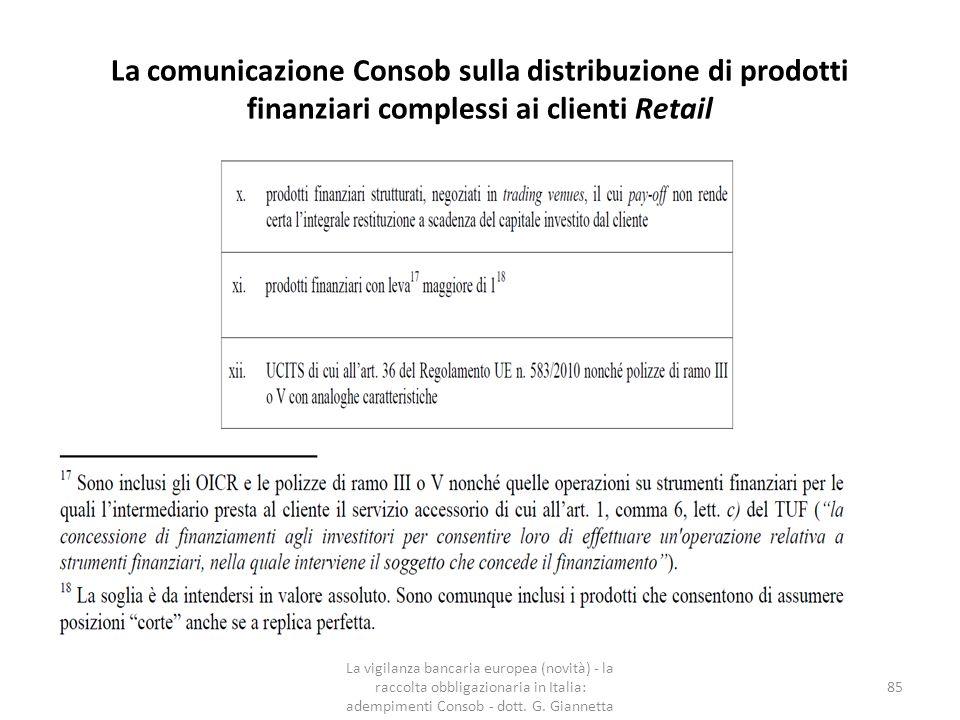 La comunicazione Consob sulla distribuzione di prodotti finanziari complessi ai clienti Retail La vigilanza bancaria europea (novità) - la raccolta ob