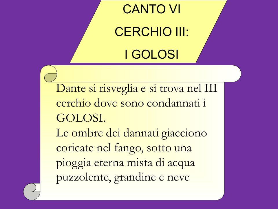 Dante si risveglia e si trova nel III cerchio dove sono condannati i GOLOSI.