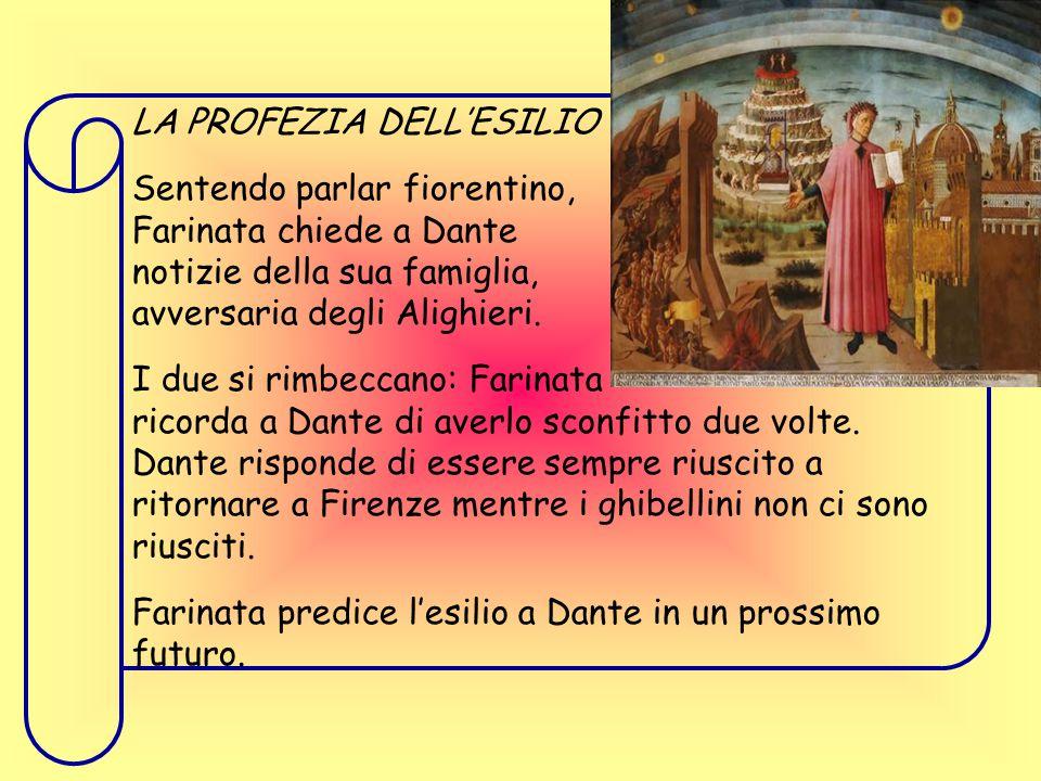 LA PROFEZIA DELL'ESILIO Sentendo parlar fiorentino, Farinata chiede a Dante notizie della sua famiglia, avversaria degli Alighieri.