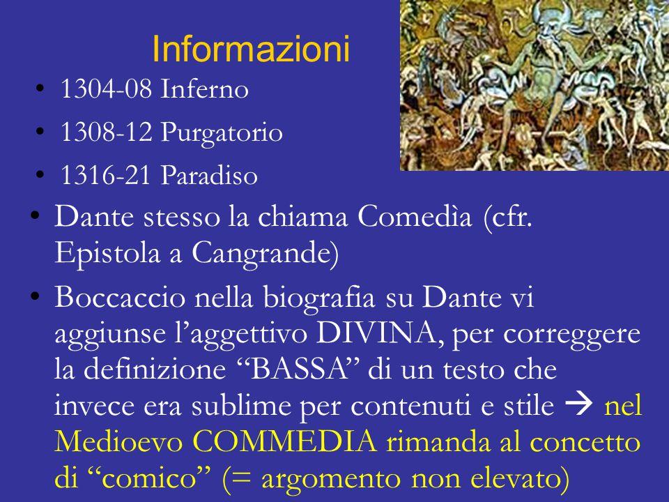 Informazioni 1304-08 Inferno 1308-12 Purgatorio 1316-21 Paradiso Dante stesso la chiama Comedìa (cfr.