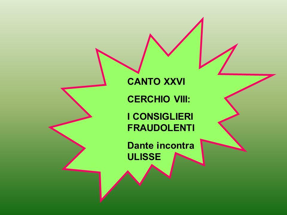 CANTO XXVI CERCHIO VIII: I CONSIGLIERI FRAUDOLENTI Dante incontra ULISSE
