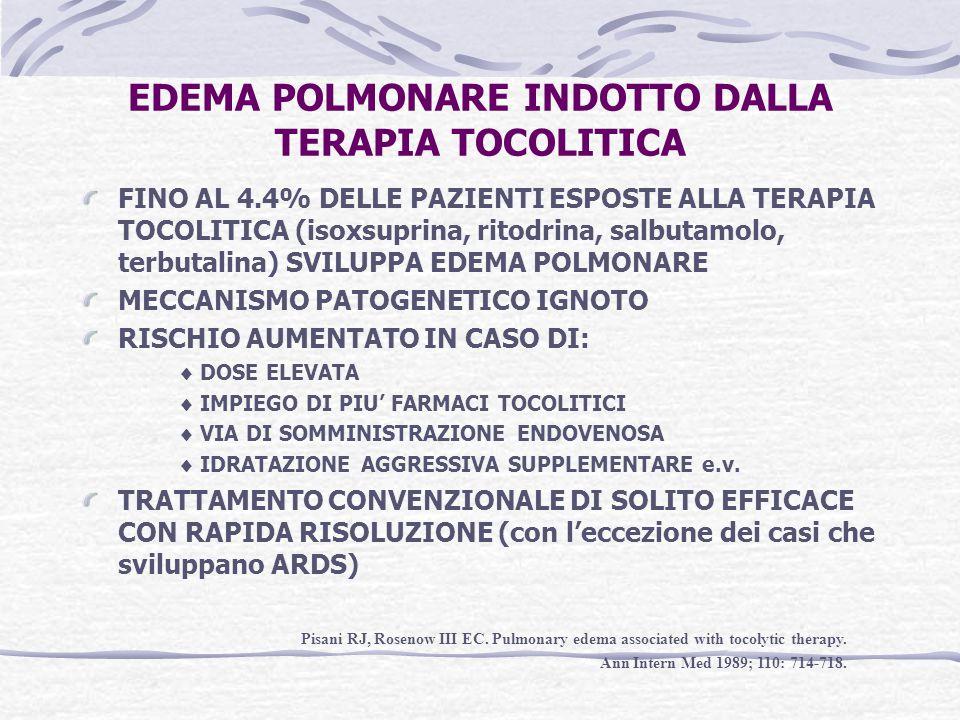 EDEMA POLMONARE INDOTTO DALLA TERAPIA TOCOLITICA FINO AL 4.4% DELLE PAZIENTI ESPOSTE ALLA TERAPIA TOCOLITICA (isoxsuprina, ritodrina, salbutamolo, ter