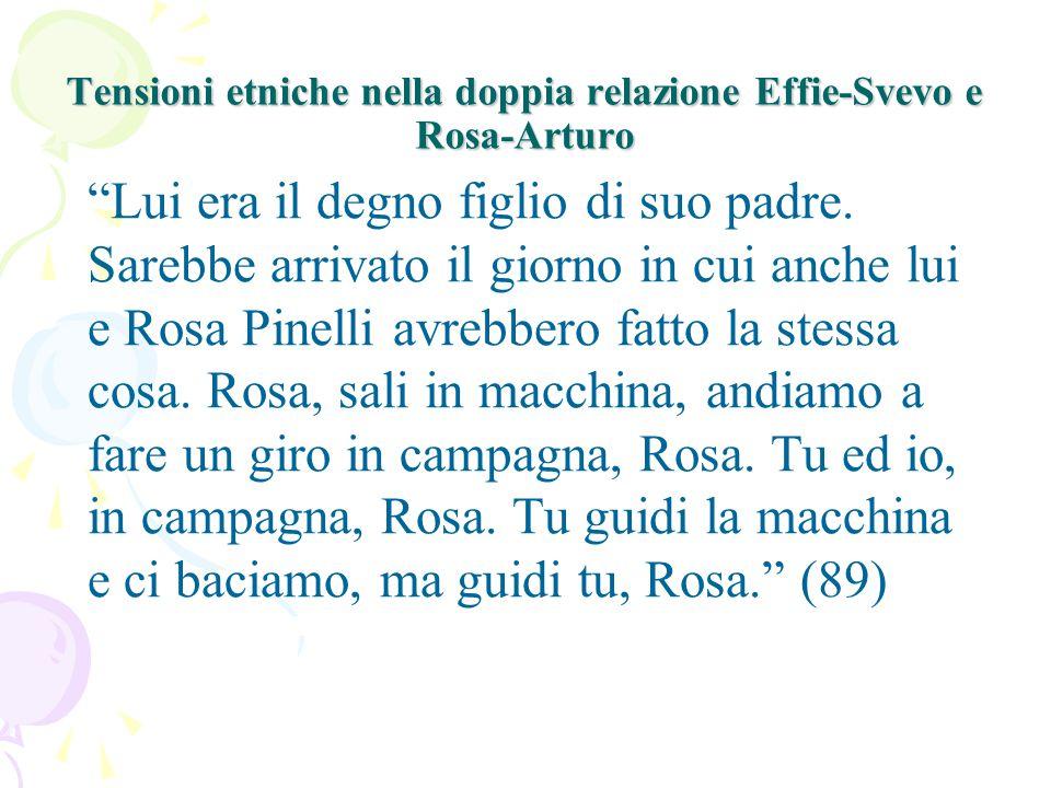 Tensioni etniche nella doppia relazione Effie-Svevo e Rosa-Arturo Lui era il degno figlio di suo padre.