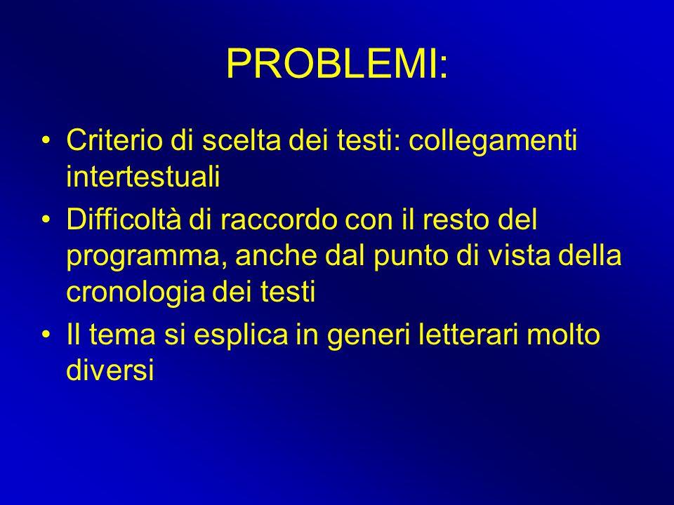 PROBLEMI: Criterio di scelta dei testi: collegamenti intertestuali Difficoltà di raccordo con il resto del programma, anche dal punto di vista della c