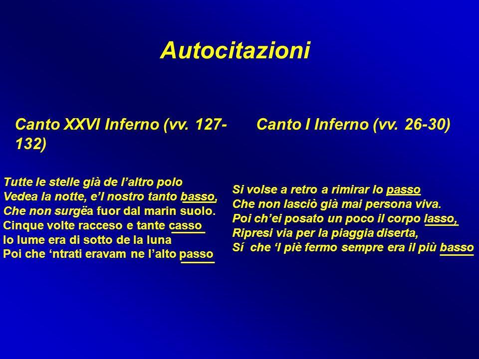 Autocitazioni Canto XXVI Inferno (vv. 127- 132) Canto I Inferno (vv. 26-30) Si volse a retro a rimirar lo passo Che non lasciò già mai persona viva. P