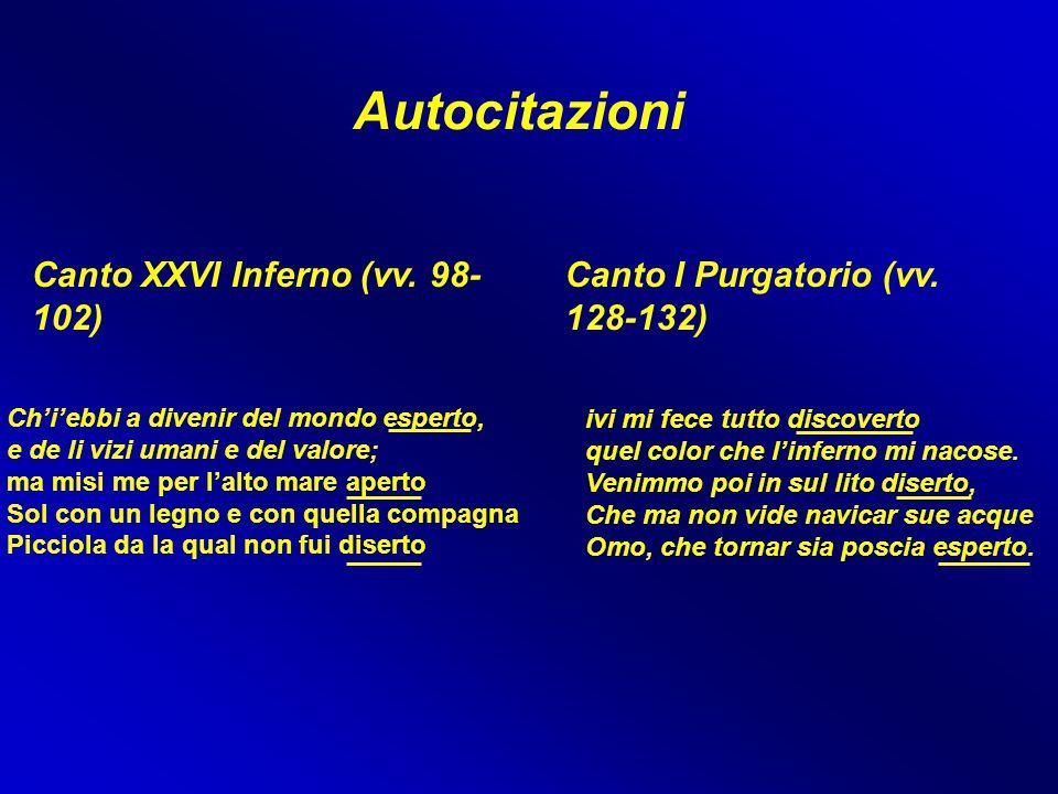 Autocitazioni Canto XXVI Inferno (vv. 98- 102) Canto I Purgatorio (vv. 128-132) ivi mi fece tutto discoverto quel color che l'inferno mi nacose. Venim