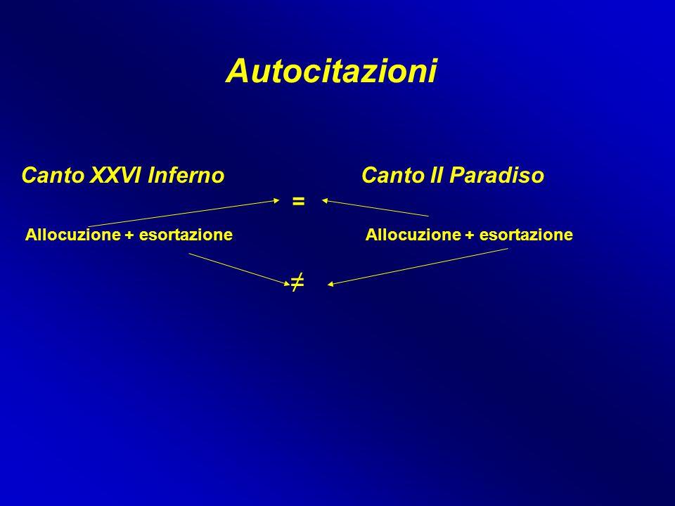 Autocitazioni Canto XXVI InfernoCanto II Paradiso Allocuzione + esortazione = ≠