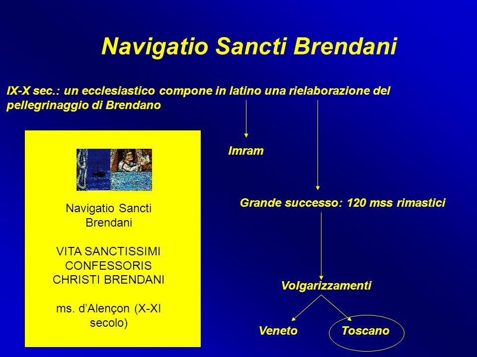 Navigatio Sancti Brendani IX-X sec.: un ecclesiastico compone in latino una rielaborazione del pellegrinaggio di Brendano Imram Grande successo: 120 m