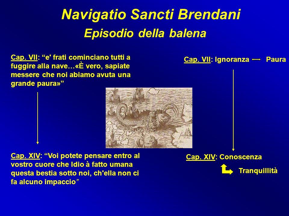 """Navigatio Sancti Brendani Episodio della balena Cap. VII: """"e' frati cominciano tutti a fuggire alla nave…«È vero, sapiate messere che noi abiamo avuta"""