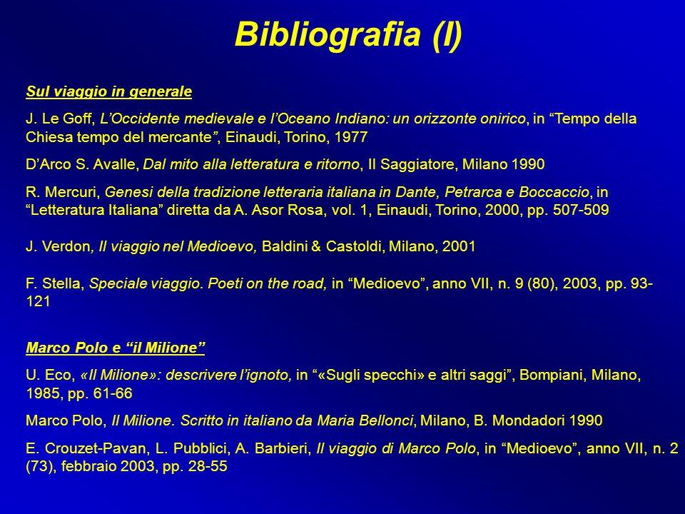 """Bibliografia (I) Marco Polo e """"il Milione"""" U. Eco, «Il Milione»: descrivere l'ignoto, in """"«Sugli specchi» e altri saggi"""", Bompiani, Milano, 1985, pp."""