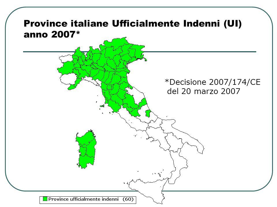 Province italiane Ufficialmente Indenni (UI) anno 2007* *Decisione 2007/174/CE del 20 marzo 2007