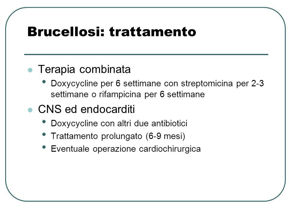 Brucellosi: trattamento Terapia combinata Doxycycline per 6 settimane con streptomicina per 2-3 settimane o rifampicina per 6 settimane CNS ed endocar