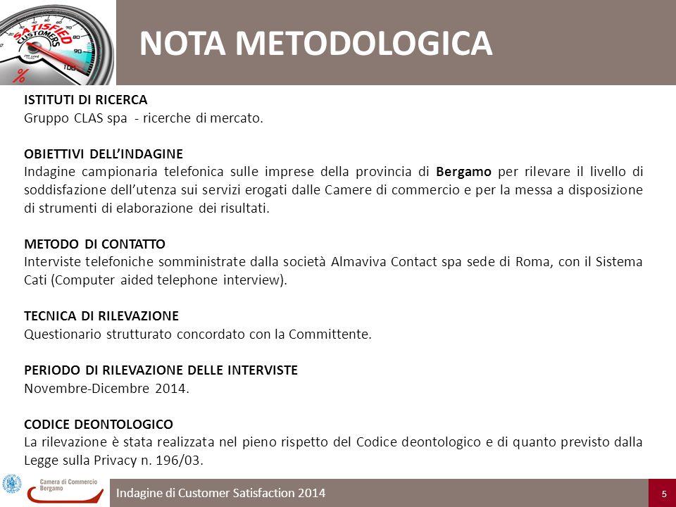 Indagine di Customer Satisfaction 2014 5 ISTITUTI DI RICERCA Gruppo CLAS spa - ricerche di mercato.