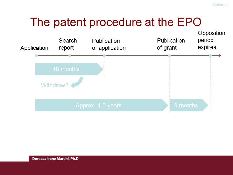 Dott.ssa Irene Martini, Ph.D The patent procedure at the EPO Application Search report Publication of application Publication of grant Opposition peri