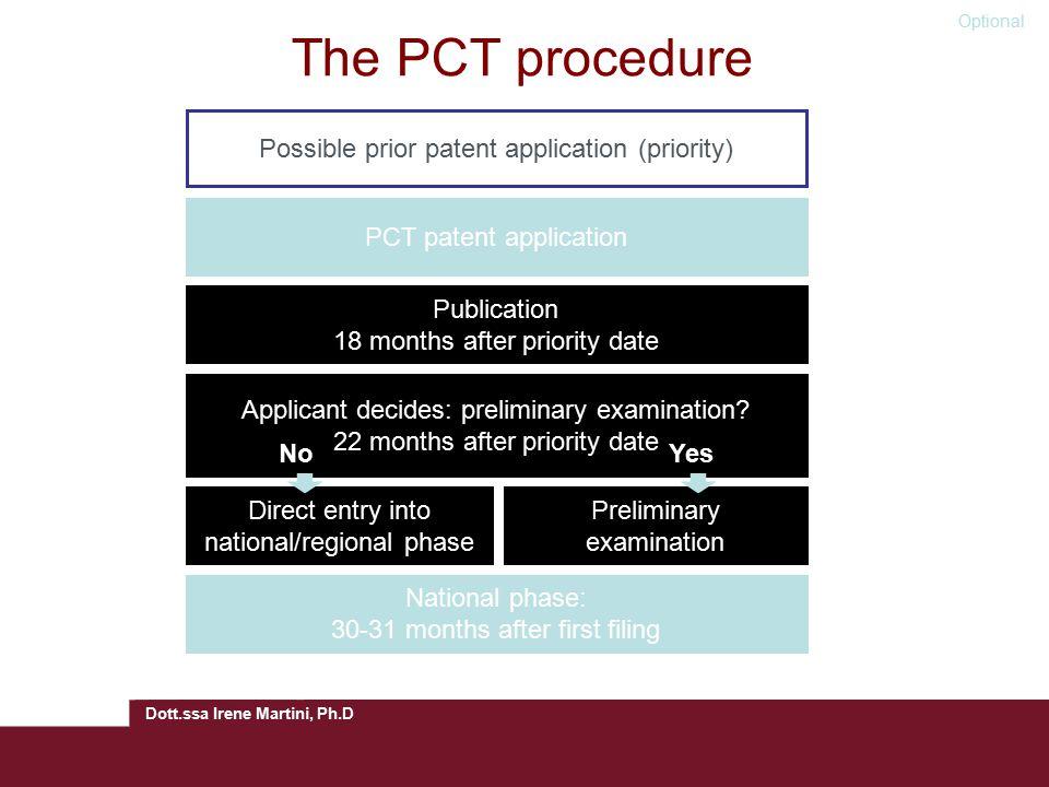 Dott.ssa Irene Martini, Ph.D The PCT procedure Possible prior patent application (priority)PCT patent application Applicant decides: preliminary examination.