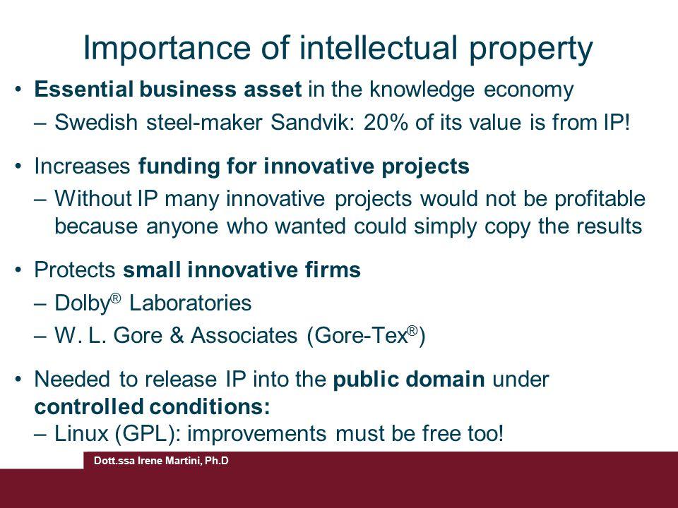 Dott.ssa Irene Martini, Ph.D Importance of intellectual property Essential business asset in the knowledge economy –Swedish steel-maker Sandvik: 20% o
