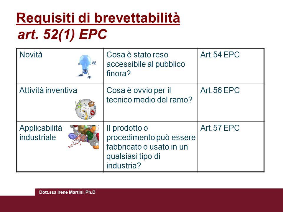 Dott.ssa Irene Martini, Ph.D Requisiti di brevettabilità art. 52(1) EPC NovitàCosa è stato reso accessibile al pubblico finora? Art.54 EPC Attività in