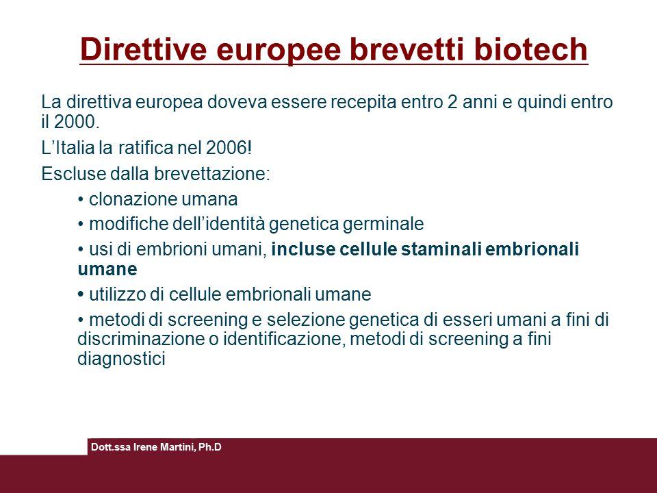 Dott.ssa Irene Martini, Ph.D Direttive europee brevetti biotech La direttiva europea doveva essere recepita entro 2 anni e quindi entro il 2000. L'Ita