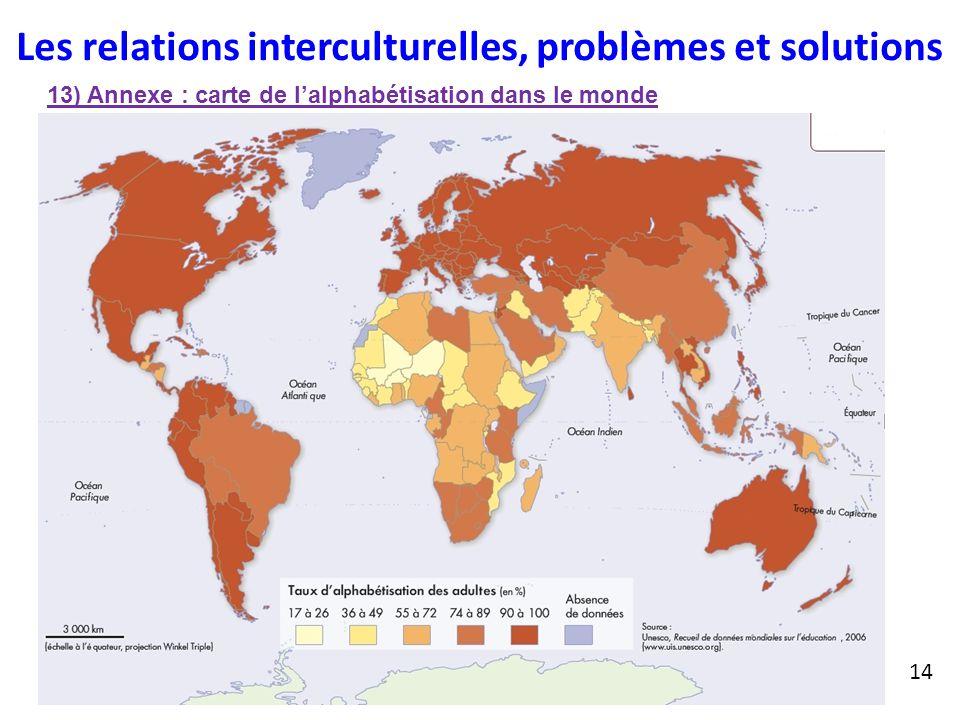 Les relations interculturelles, problèmes et solutions 13) Annexe : carte de l'alphabétisation dans le monde 14