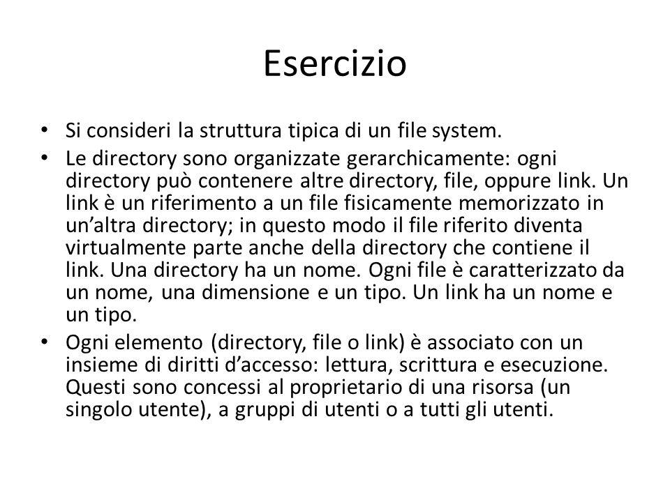 Esercizio Si consideri la struttura tipica di un file system.