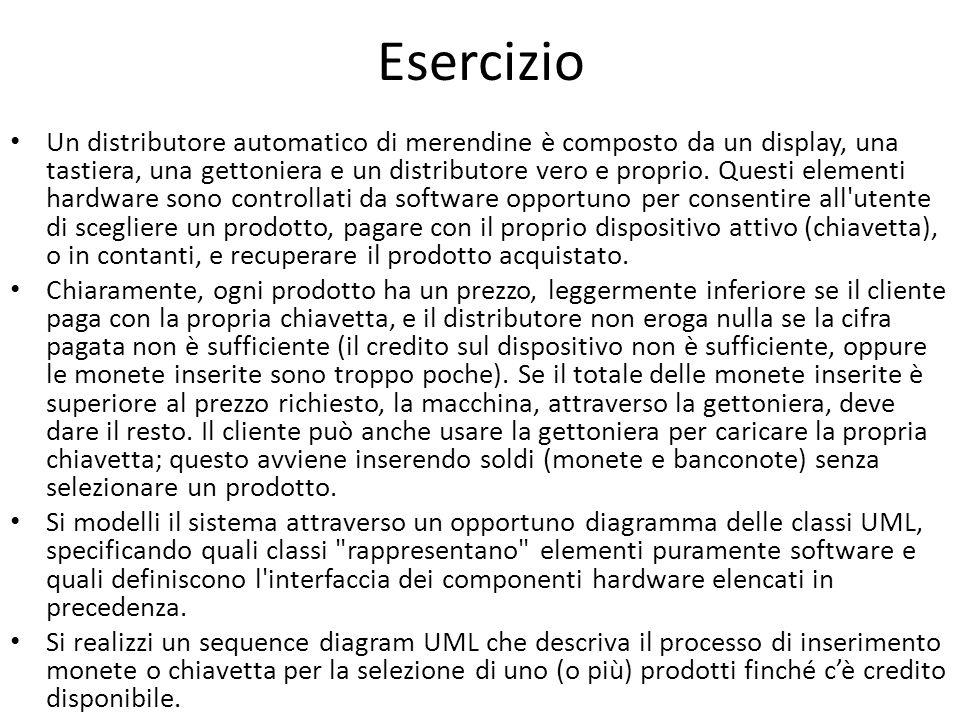 Esercizio Un distributore automatico di merendine è composto da un display, una tastiera, una gettoniera e un distributore vero e proprio.