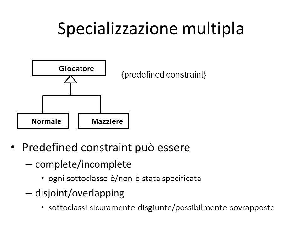 Specializzazione multipla Predefined constraint può essere – complete/incomplete ogni sottoclasse è/non è stata specificata – disjoint/overlapping sottoclassi sicuramente disgiunte/possibilmente sovrapposte Giocatore MazziereNormale {predefined constraint}