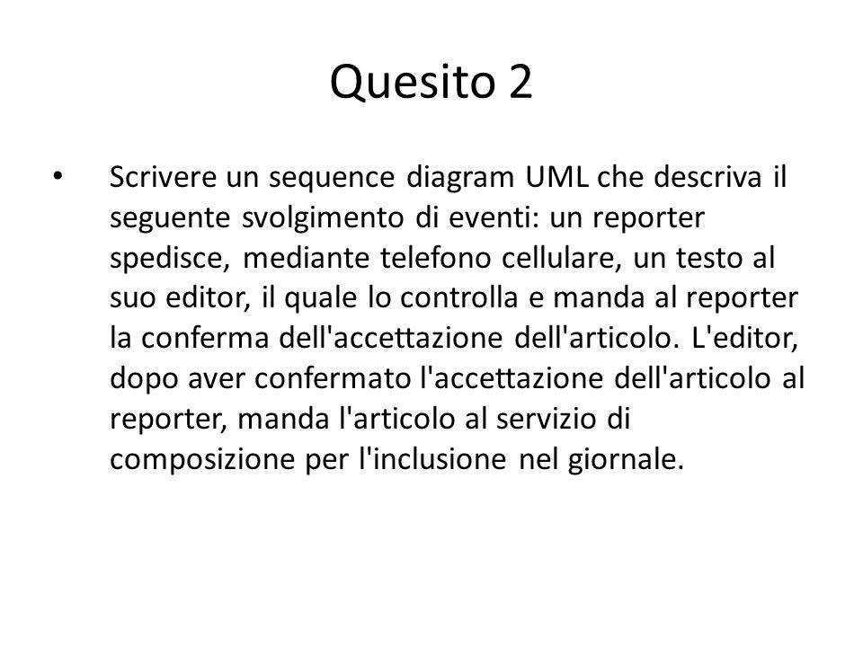 Quesito 2 Scrivere un sequence diagram UML che descriva il seguente svolgimento di eventi: un reporter spedisce, mediante telefono cellulare, un testo al suo editor, il quale lo controlla e manda al reporter la conferma dell accettazione dell articolo.