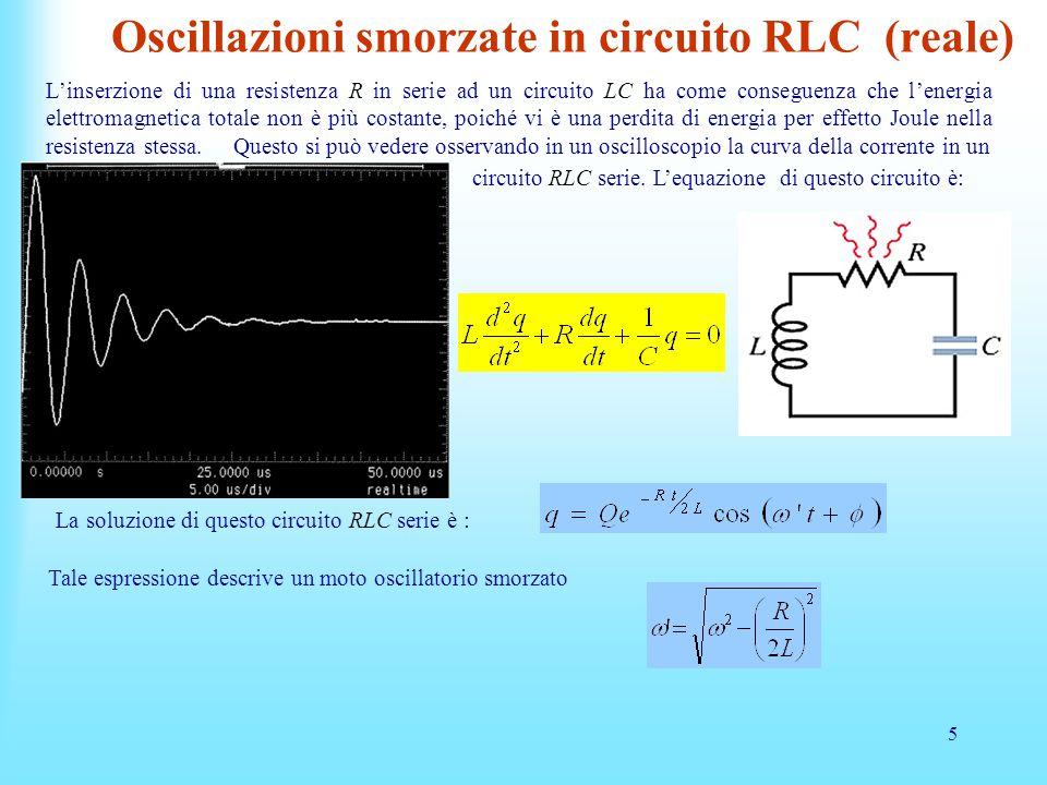 5 Oscillazioni smorzate in circuito RLC (reale) L'inserzione di una resistenza R in serie ad un circuito LC ha come conseguenza che l'energia elettromagnetica totale non è più costante, poiché vi è una perdita di energia per effetto Joule nella resistenza stessa.