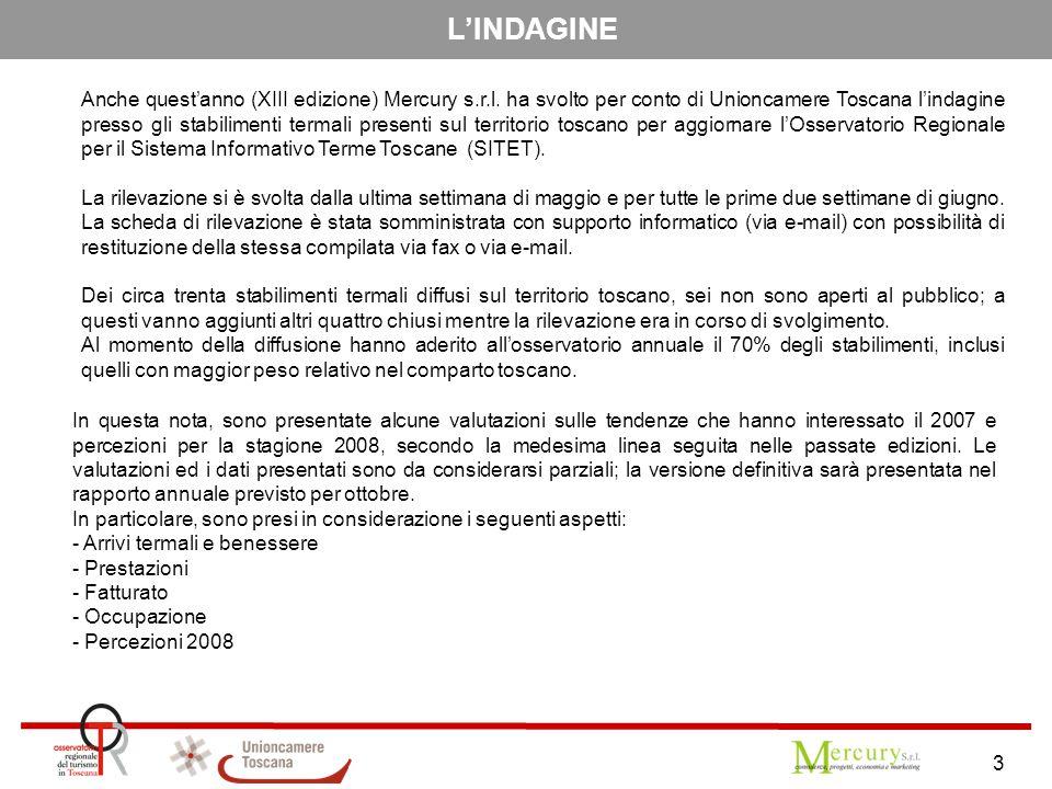 3 L'INDAGINE Anche quest'anno (XIII edizione) Mercury s.r.l. ha svolto per conto di Unioncamere Toscana l'indagine presso gli stabilimenti termali pre