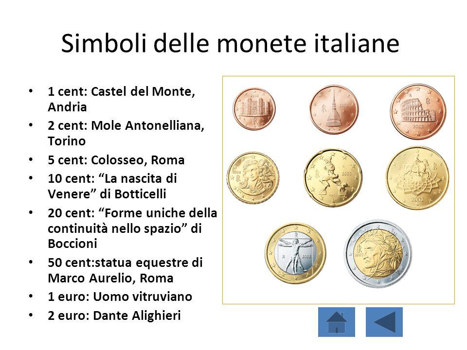 """Simboli delle monete italiane 1 cent: Castel del Monte, Andria 2 cent: Mole Antonelliana, Torino 5 cent: Colosseo, Roma 10 cent: """"La nascita di Venere"""