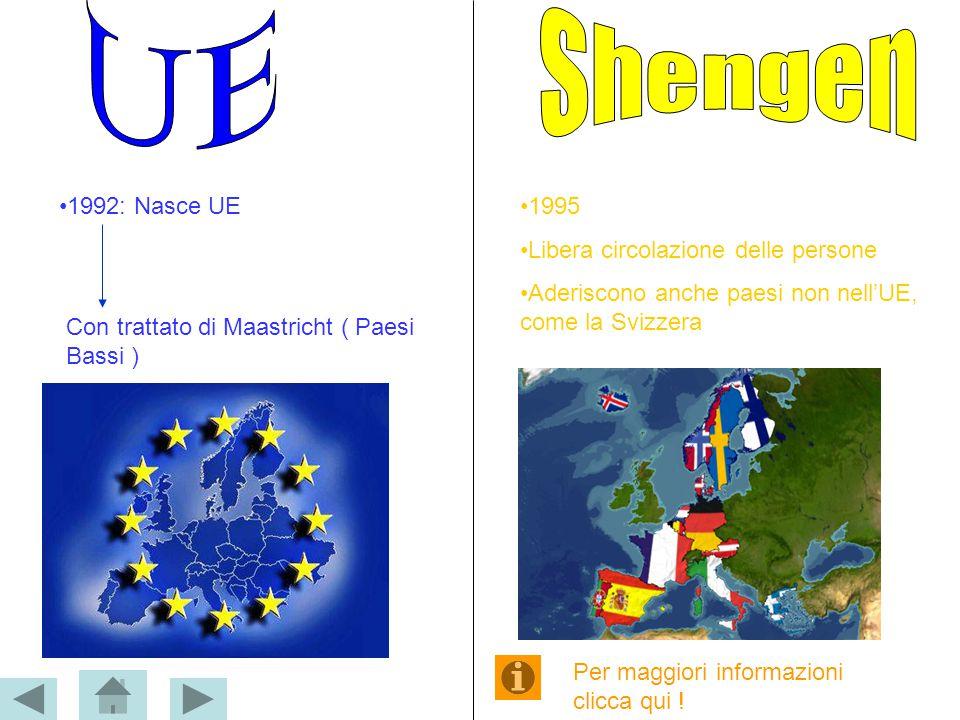 1992: Nasce UE Con trattato di Maastricht ( Paesi Bassi ) 1995 Libera circolazione delle persone Aderiscono anche paesi non nell'UE, come la Svizzera
