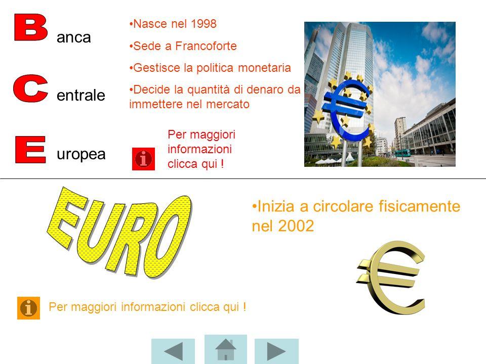 anca entrale uropea Nasce nel 1998 Sede a Francoforte Gestisce la politica monetaria Decide la quantità di denaro da immettere nel mercato Inizia a ci