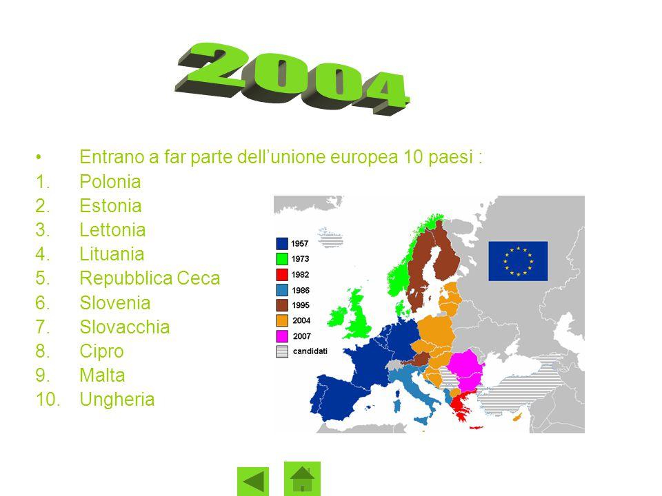 Entrano a far parte dell'unione europea 10 paesi : 1.Polonia 2.Estonia 3.Lettonia 4.Lituania 5.Repubblica Ceca 6.Slovenia 7.Slovacchia 8.Cipro 9.Malta