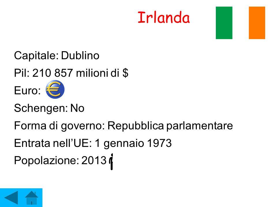 Irlanda Capitale: Dublino Pil: 210 857 milioni di $ Euro: Schengen: No Forma di governo: Repubblica parlamentare Entrata nell'UE: 1 gennaio 1973 Popol