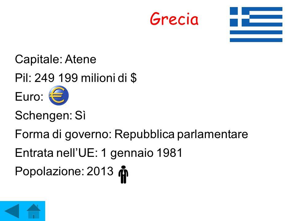 Grecia Capitale: Atene Pil: 249 199 milioni di $ Euro: Schengen: Sì Forma di governo: Repubblica parlamentare Entrata nell'UE: 1 gennaio 1981 Popolazi