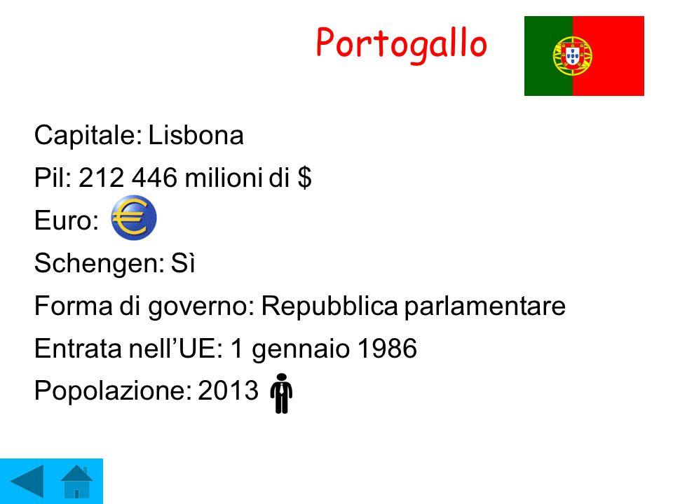 Portogallo Capitale: Lisbona Pil: 212 446 milioni di $ Euro: Schengen: Sì Forma di governo: Repubblica parlamentare Entrata nell'UE: 1 gennaio 1986 Po