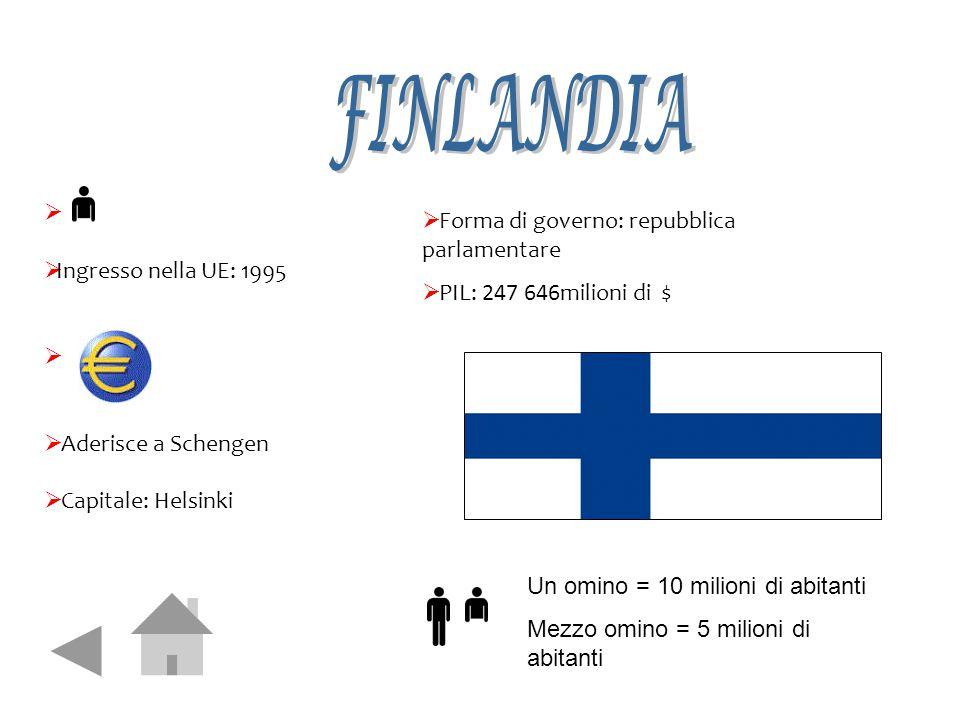   Ingresso nella UE: 1995   Aderisce a Schengen  Capitale: Helsinki  Forma di governo: repubblica parlamentare  PIL: 247 646milioni di $ Un omi