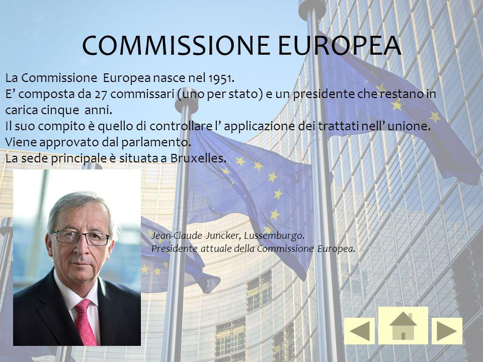 COMMISSIONE EUROPEA La Commissione Europea nasce nel 1951. E' composta da 27 commissari (uno per stato) e un presidente che restano in carica cinque a