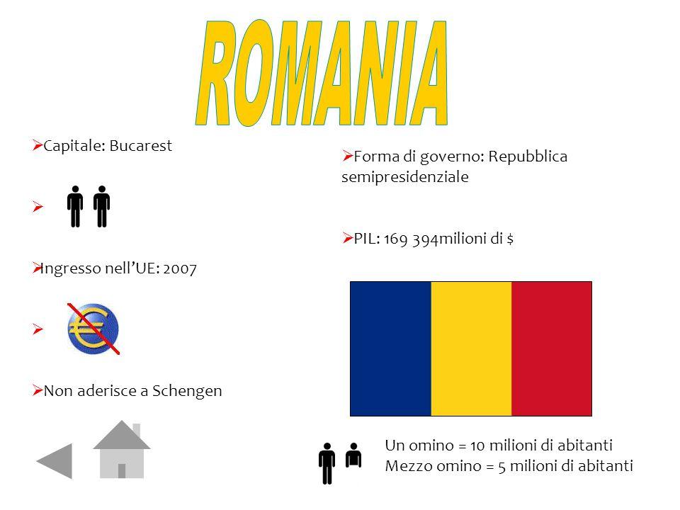  Capitale: Bucarest   Ingresso nell'UE: 2007   Non aderisce a Schengen  Forma di governo: Repubblica semipresidenziale  PIL: 169 394milioni di