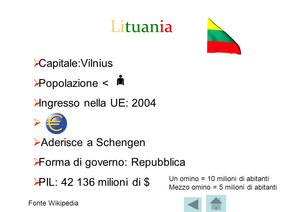 Lituania  Capitale:Vilnius  Popolazione <  Ingresso nella UE: 2004   Aderisce a Schengen  Forma di governo: Repubblica  PIL: 42 136 milioni di