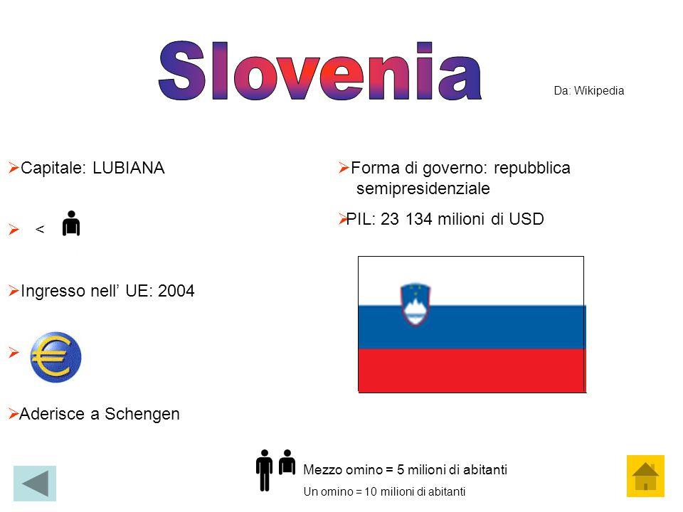  Capitale: LUBIANA  <  Ingresso nell' UE: 2004   Aderisce a Schengen  Forma di governo: repubblica semipresidenziale  PIL: 23 134 milioni di US