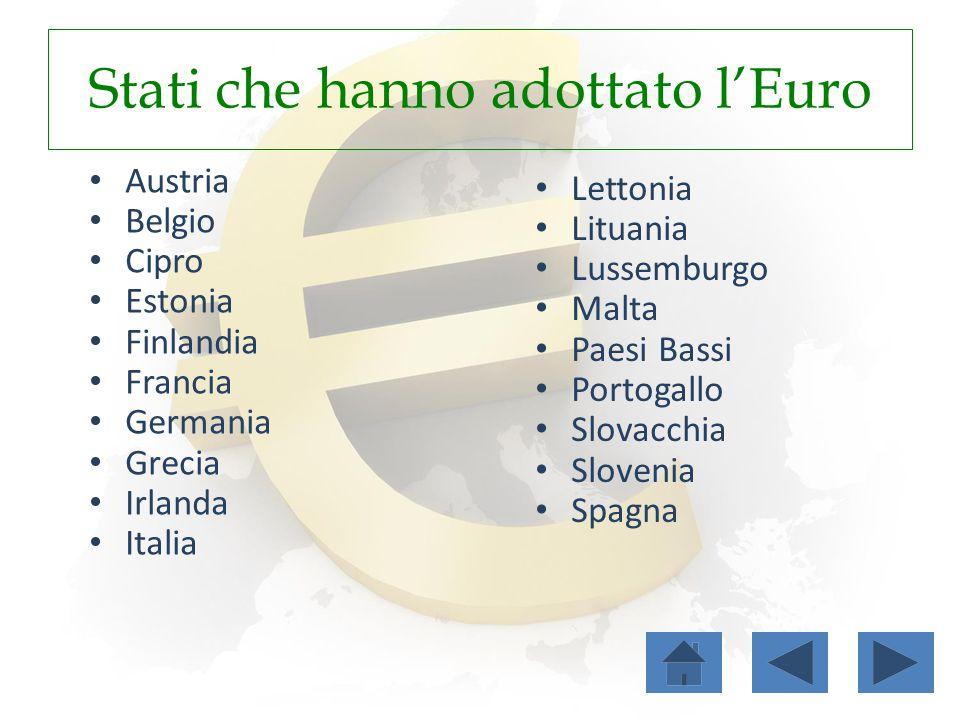 Stati che hanno adottato l'Euro Austria Belgio Cipro Estonia Finlandia Francia Germania Grecia Irlanda Italia Lettonia Lituania Lussemburgo Malta Paes