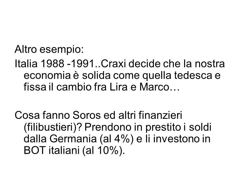 Altro esempio: Italia 1988 -1991..Craxi decide che la nostra economia è solida come quella tedesca e fissa il cambio fra Lira e Marco… Cosa fanno Soros ed altri finanzieri (filibustieri).